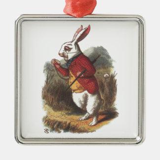 Mr Rabbit! Silver-Colored Square Ornament