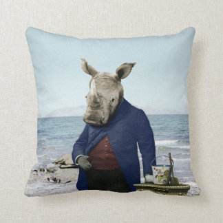 Mr. Rhino's Day at the Beach Pillow