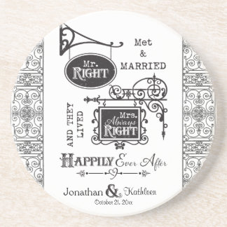 Mr. Right and Mrs. Always Right Wedding Marriage Coaster