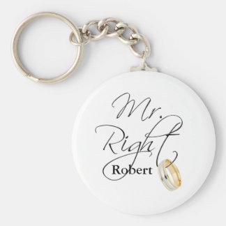 Mr Right Basic Round Button Keychain