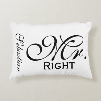 Mr Right Scroll Text Black And White Personalized Accent Pillow