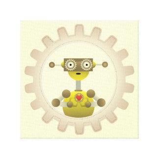 Mr. Robot with Steampunk Gear Heart Canvas Print