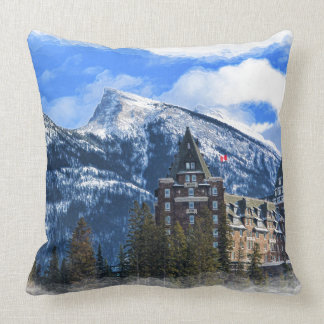 Mr Rundle and Hotel, Banff, Alta, Canada Throw Pillow