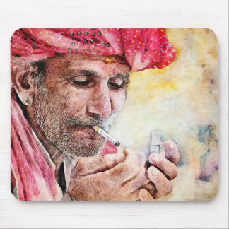 Mr. Smoker cool watercolor portrait painting Mouse Pad