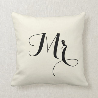 Mr. Striped Back Pillow -off white