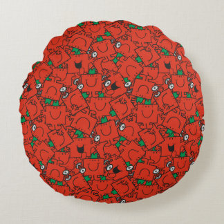 Mr Strong | Lifting Weights Red & Green Pattern Round Pillow