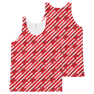 Mr Strong | Red Stripes Pattern All-Over-Print Tank Top