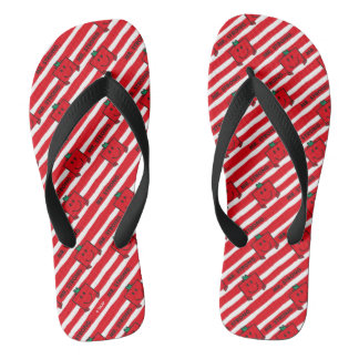 Mr Strong | Red Stripes Pattern Flip Flops