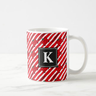Mr Strong | Red Stripes Pattern | Monogram Coffee Mug