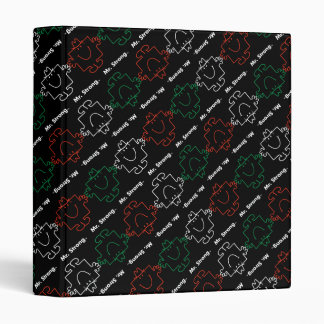 Mr Strong | Red, White & Green Pattern 3 Ring Binders