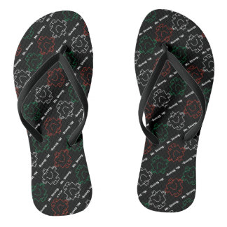 Mr Strong | Red, White & Green Pattern Flip Flops