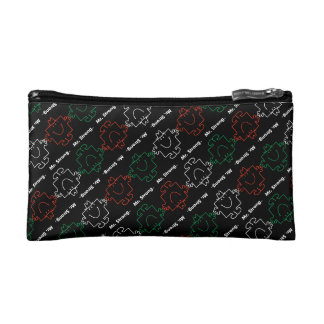 Mr Strong | Red, White & Green Pattern Makeup Bag