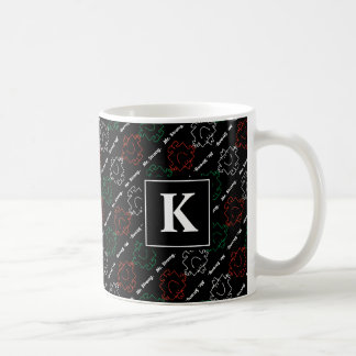 Mr Strong | Red, White & Green Pattern | Monogram Coffee Mug