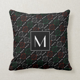 Mr Strong | Red, White & Green Pattern | Monogram Throw Pillow