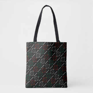Mr Strong | Red, White & Green Pattern Tote Bag