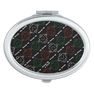 Mr Strong | Red, White & Green Pattern Travel Mirror