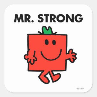 Mr. Strong Waving Hello Square Sticker