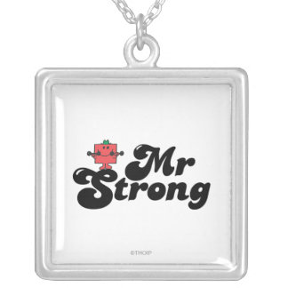 Mr. Strong | Weights & Bubble Lettering Silver Plated Necklace