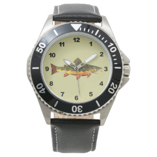 Mr. Trout Whiskers' Brookie, salvelinus fontinalis Wrist Watches