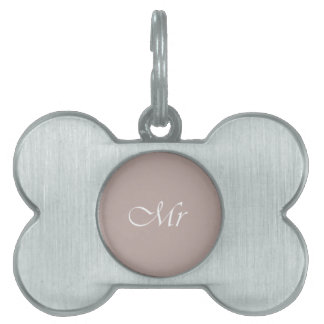 Mr Typography Beige Pet ID Tags