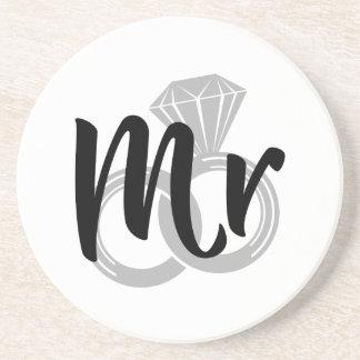 Mr Wedding Ring Groom Beverage Coaster
