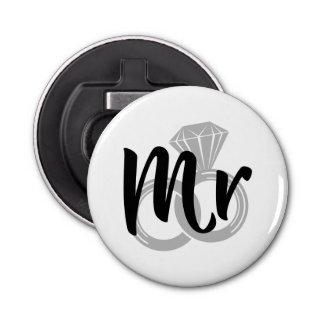 Mr Wedding Ring Groom Button Bottle Opener