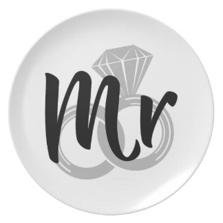 Mr Wedding Ring Groom Plate