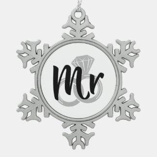 Mr Wedding Ring Groom Snowflake Pewter Christmas Ornament