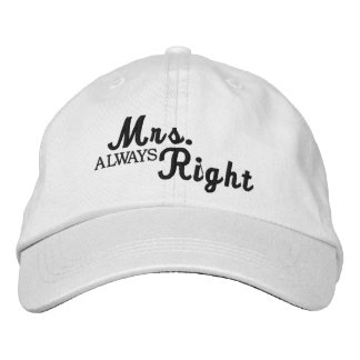 Mrs Always Right Scroll Text Black And White Embroidered Hat