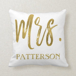Mrs. and Last Name Faux Gold Foil Pillow