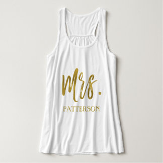 Mrs. and last name Gold Foil Typography Shirt