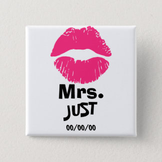 Mrs. and mr., newly weds ,just married,Set x2 2 Inch Square Button