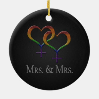 Mrs. and Mrs. Lesbian Pride Ceramic Ornament