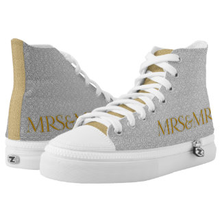 Mrs and Mrs Silver and Gold Wedding with Initials High Tops