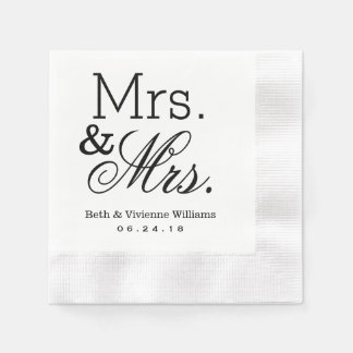 Mrs. and Mrs. Wedding Napkins | Custom Monogram Paper Napkins