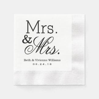 Mrs. and Mrs. Wedding Napkins   Custom Monogram Paper Napkins