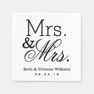 Mrs. and Mrs. Wedding Napkins | Custom Monogram Paper Napkins