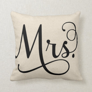 Mrs. | Black script Throw Pillow