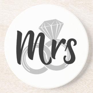 Mrs Bride Wedding Rings Coaster
