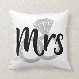 Mrs Bride Wedding Rings Throw Pillow