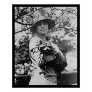 Mrs. Calvin Coolidge with her Raccoon 1923 Poster