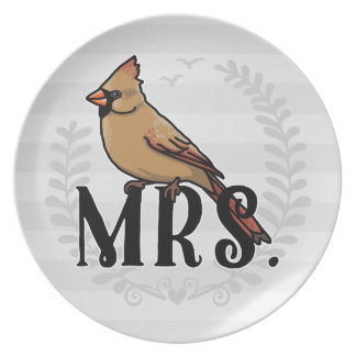 Mrs. Cardinal Mr and Mrs His and Hers Plate