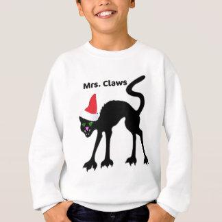 MRS. CLAWS SCARY CAT CHRISTMAS HAT PRINT SWEATSHIRT