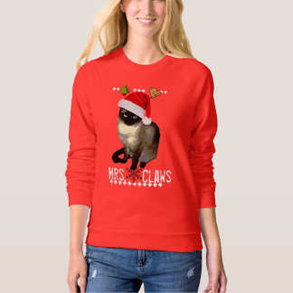 """Mrs. Claws"" Siamese cat ugly christmas sweater"