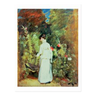 Mrs Constable in her Garden Postcard