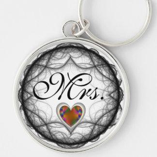 Mrs. Faceted Golden Heart Key Chain