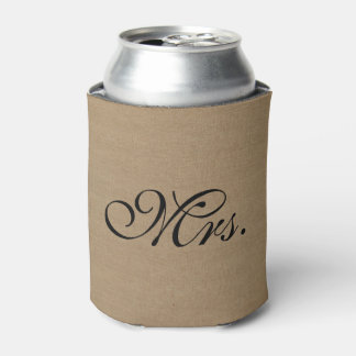 Mrs. faux linen burlap rustic chic initial jute can cooler