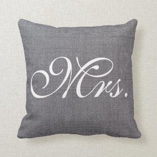 Mrs. Faux Linen canvas textile burlap Weds Pillow
