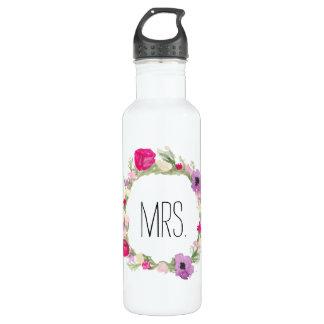 Mrs. Floral Wreath Watercolor 710 Ml Water Bottle