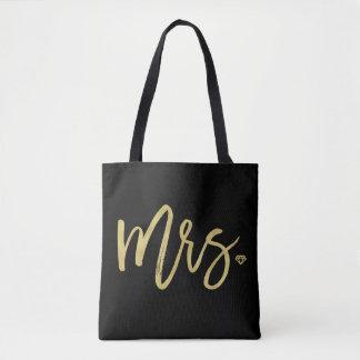 Mrs Golden Script Bridal Party Wedding Tote Bag
